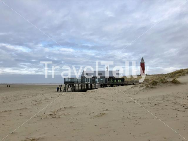 Texel beach with the lighthouse in The Netherlands