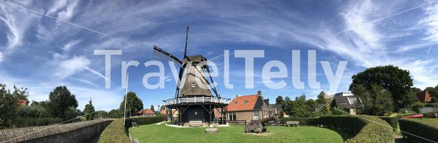 Panorama from the windmill de kaai in Sloten, Friesland The Netherlands