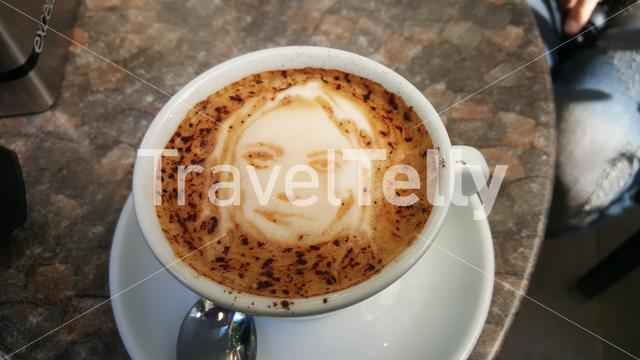 Cappucino art with face