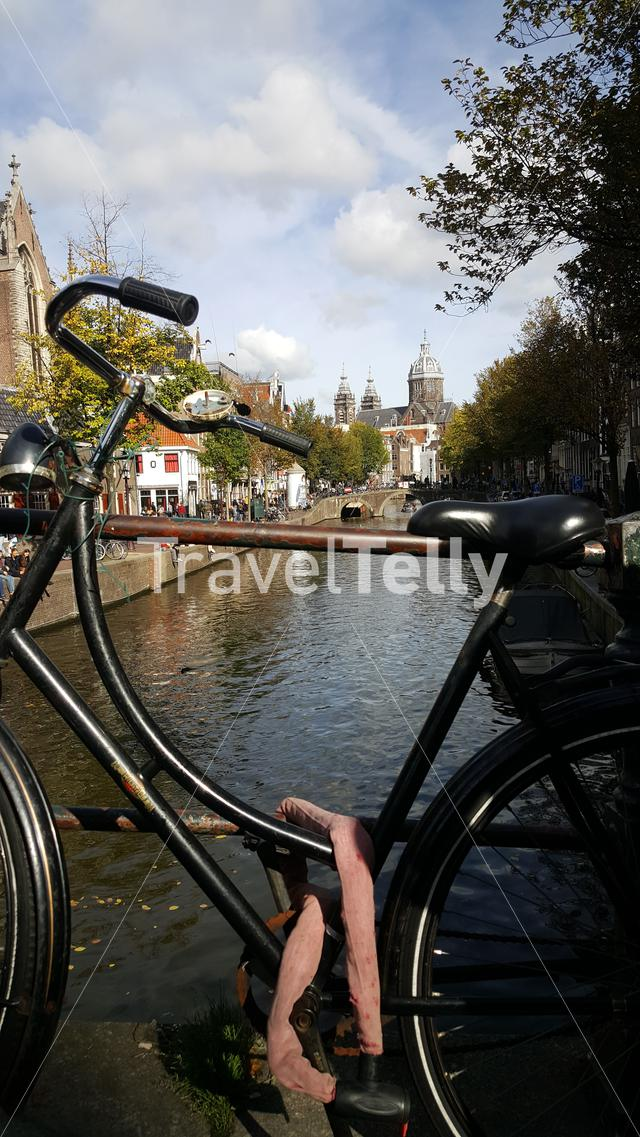 Dutch bike on a bridge in Amsterdam