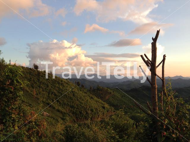 Mountain landscape during sunset in the hills of Northern Thailand
