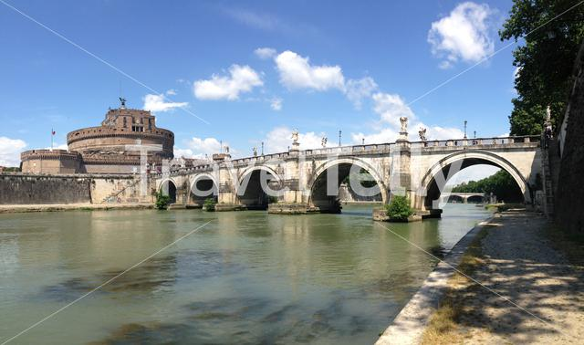 Castel Sant Angelo and the St. Angelo Bridge in Rome Italy