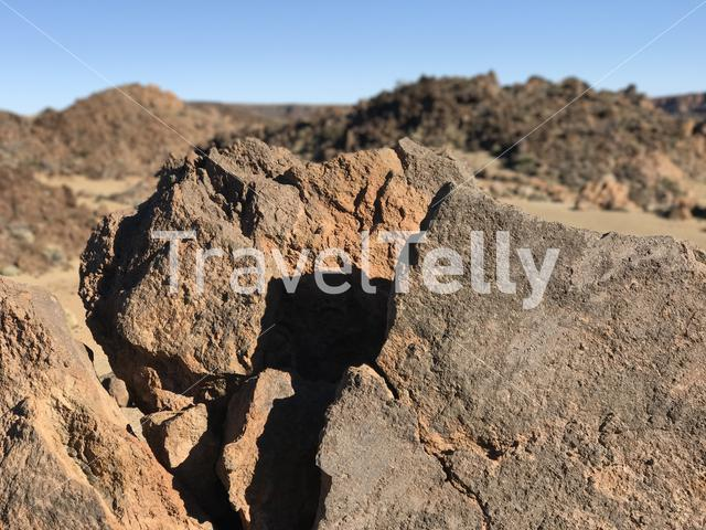 Rocky landscape around Mount Teide a volcano on Tenerife in the Canary Islands