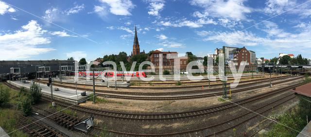 Panorama from Lübeck train station in Germany