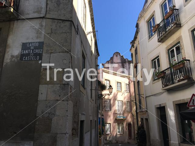 Narrow street in the historical center of Lisbon Portugal