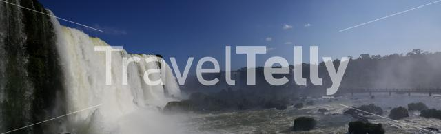 Massive wall of water panorama at the Iguazu Falls from the Brazilian side
