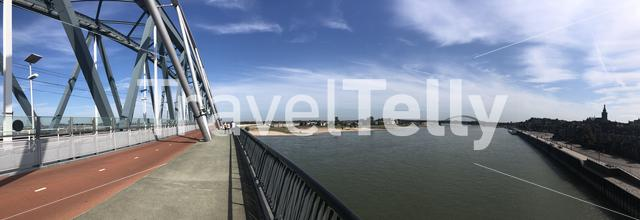 The railway bridge over the Waal river panorama in Nijmegen, Gelderland The Netherlands