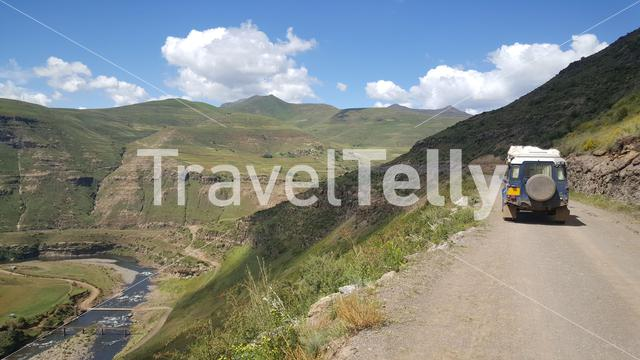 Driving through Mountain range scenery in Lesotho