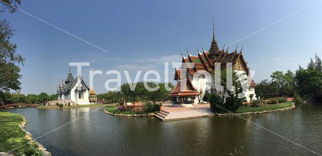 Panorama from the Dusit Maha Prasat Palace (The Grand Palace) and Sanphet Prasat Palace in Ancient Siam Bangkok Thailand