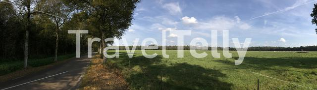 Panorama from a road and farmland in Drenthe The Netherlands