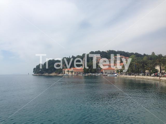 Cavtat harbour with the Franciscan Monastery Hotel in Croatia