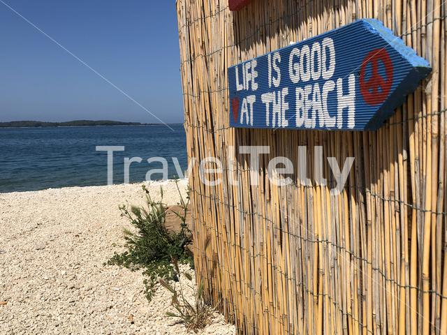 Beach sign around Valbandon Croatia