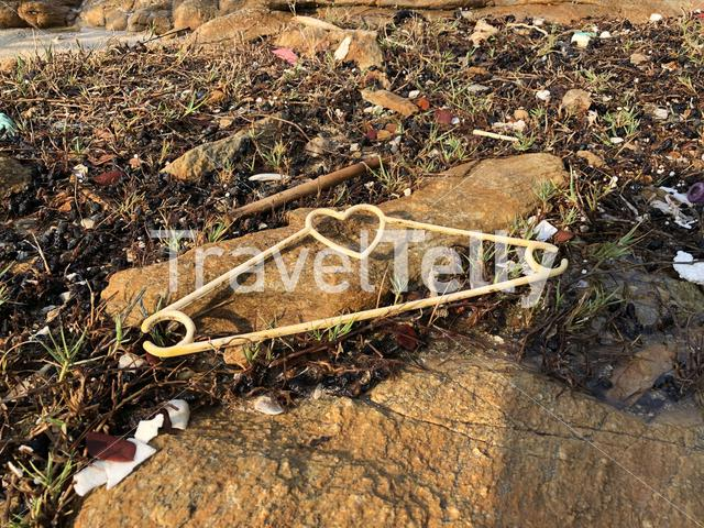 Plastic pollution on Koh Samet island in Thailand