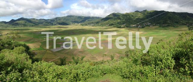 Panorama from the Spider Web Rice Field around Meler, Ruteng at the island Flores in Indonesia