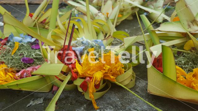 Flower offerings in Bali