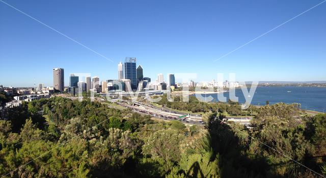 Panorama Perth skyline from Kings Park Western Australia