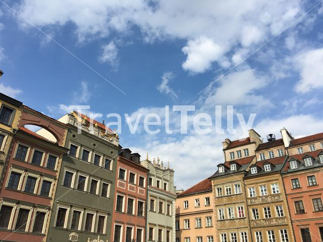 Colorful houses in the old town of Warsaw Poland