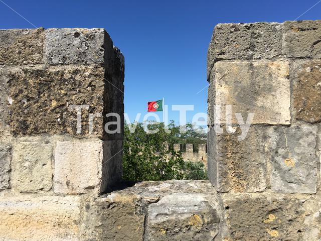 Portugal flag at the Castelo de S. Jorge in Lisbon Portugal