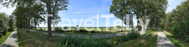 Bicycle path and road around IJhorst in Overijssel, The Netherlands