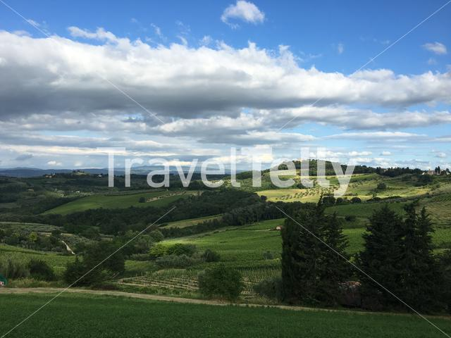 Green hill landscape around San Donato in italy