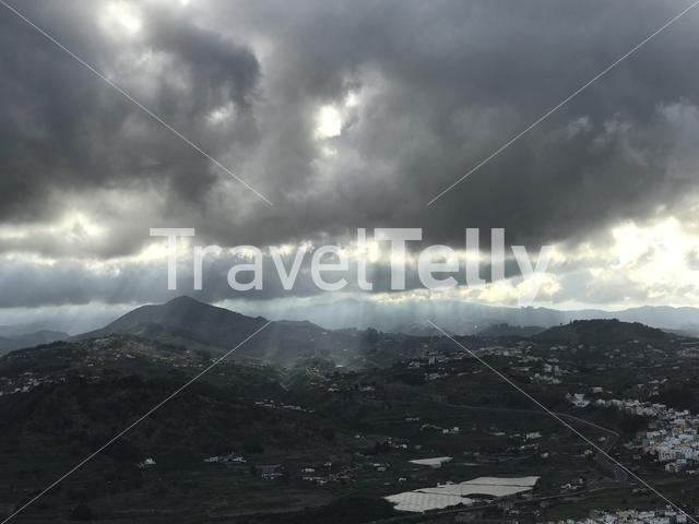 Dark clouds seen from mount Arucas in Gran Canaria