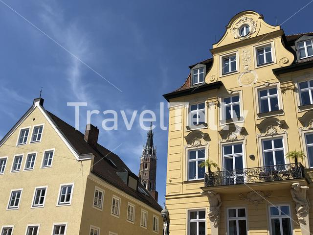 Architecture in the old town of Landshut Germany