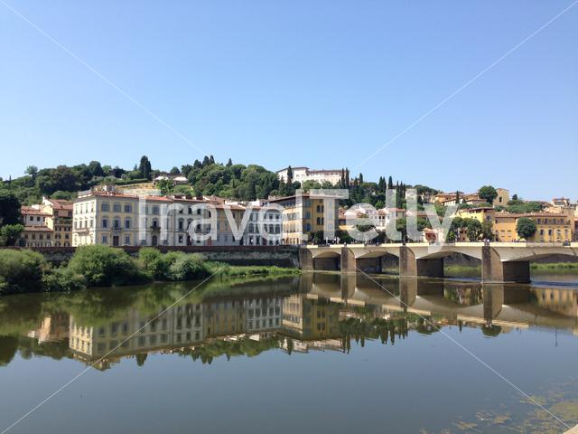 Ponte alle Grazie and the Fiume Arno river in Florence Italy