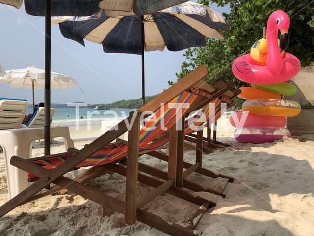 Beach chairs on Sai Kaew Beach in Koh Samet, Thailand