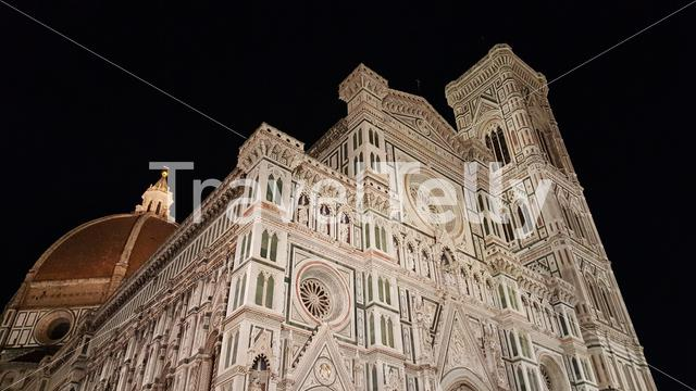 The Cattedrale di Santa Maria del Fiore is the main church of Florence, Italy at night