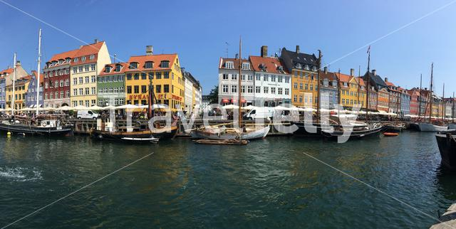 Panorama from Nyhavn (New Harbour) a 17th-century waterfront, canal and entertainment district in Copenhagen, Denmark