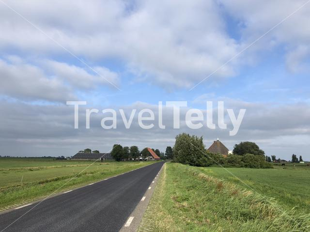 Road towards Gaastmeer in Friesland, The Netherlands