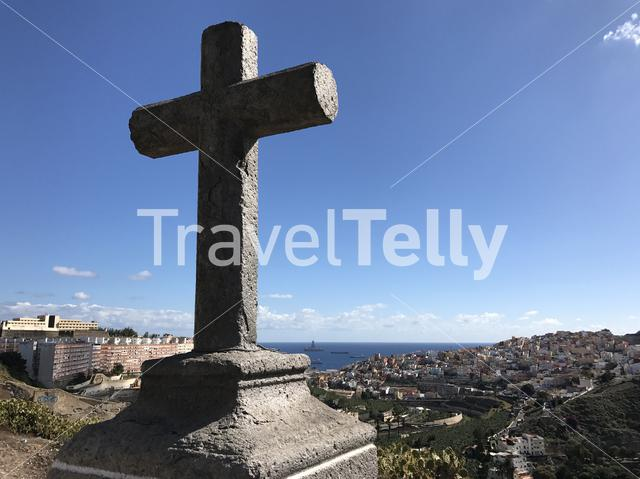 Cross looking out over Las Palmas old town Gran Canaria