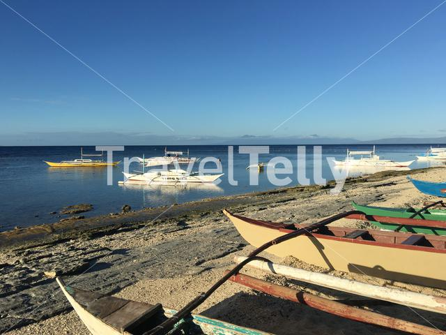 Catamaran Boats at the beach and the reef during low tide in the morning at Balicasag Island in Bohol the Philippines