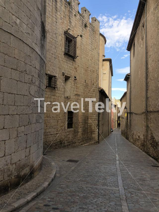 Street in the old town of Girona Catalonia, Spain