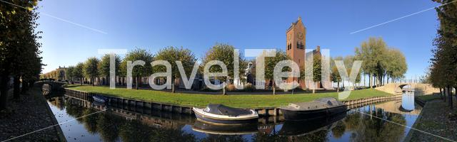 Panorama from autumn in Sloten, Friesland, The Netherlands
