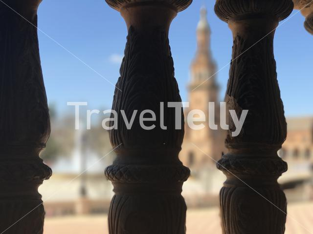 Pillars at Plaza de Espana in Seville Spain