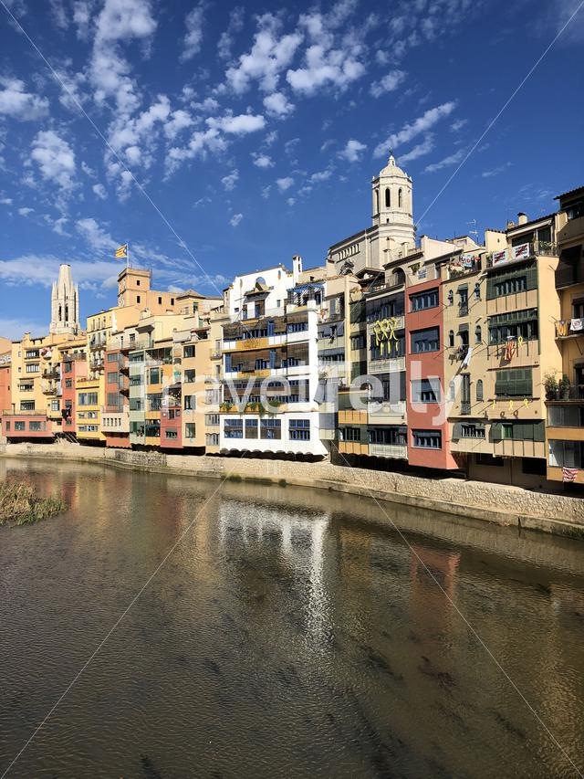 The Onyar river in Girona, Spain