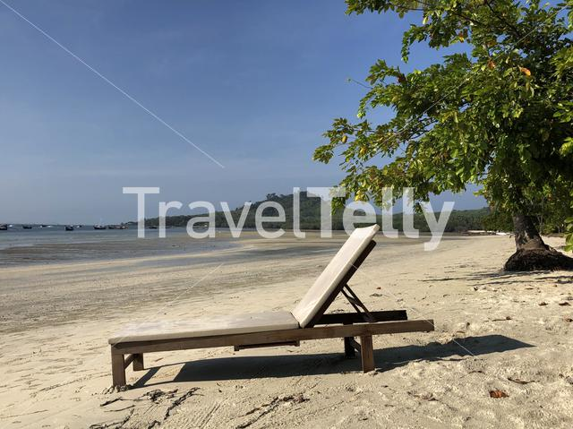 Beach chair at beach on Koh Mook Thailand