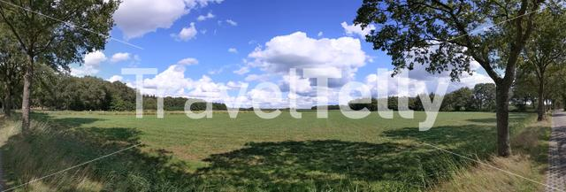 Panoramic landscape around Bekhof in Friesland, The Netherlands