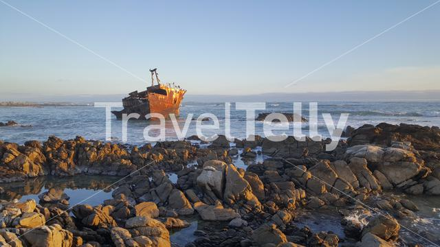 Shipwreck at the rocky coast of Cape Agulhas in South Africa