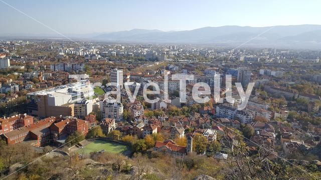 View of Plovdiv from the Bunarjik Hill in Bulgaria