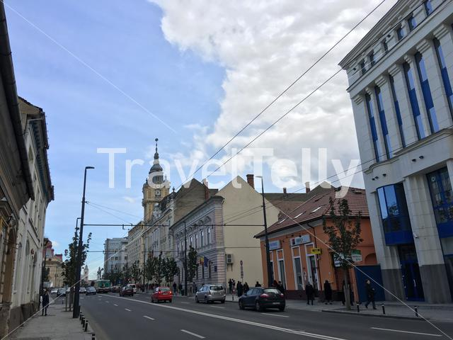 Street in front of the Cluj-Napoca City Hall in Romania