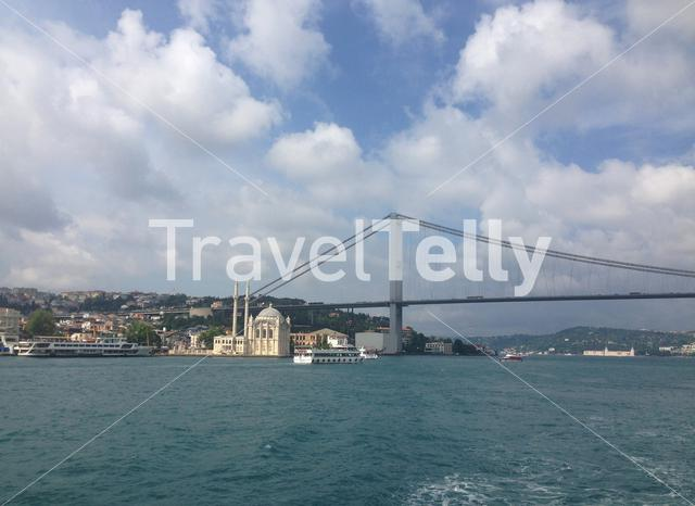 Ortakoy Mosque and the 15 July Martyrs Bridge in Istanbul Turkey