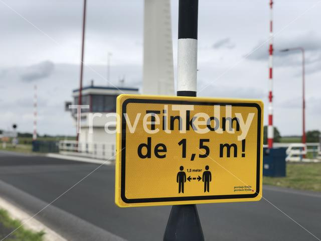 Social distance sign in Friesland, The Netherlands