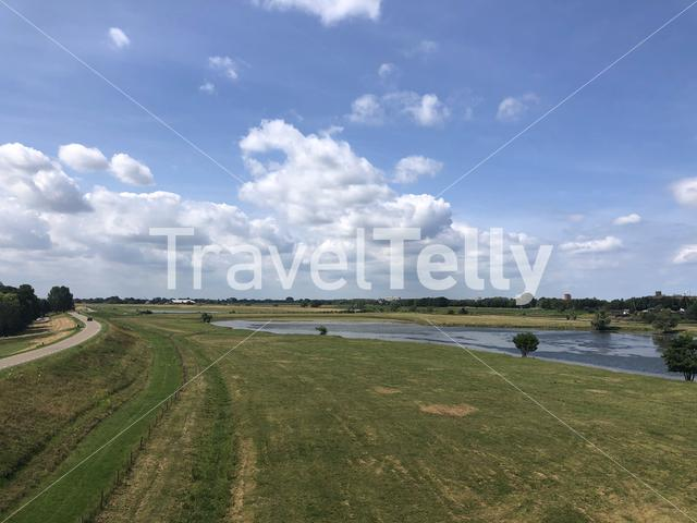 View from a bridge over the IJssel from Westervoort to Arnhem in The Netherlands