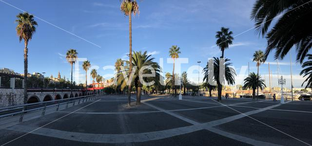 Panorama from the boulevard around the port of Barcelona Spain