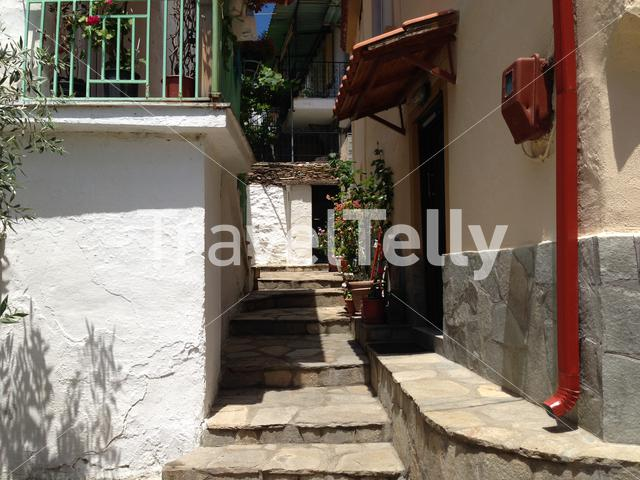 Small street in Maries Thassos Greece