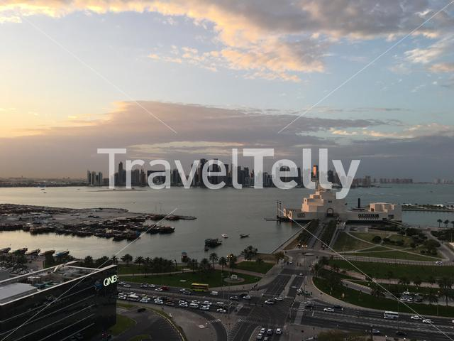 Overview of the Dhow Harbour with the Museum of Islamic Art on the Corniche in Doha Qatar
