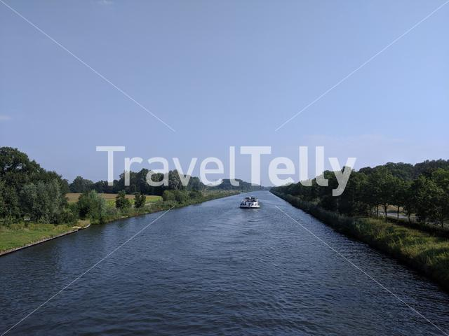 Cargo ship at the twente canal in The Netherlands