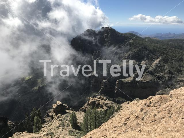 Clouds at Pico de las Nieves the highest peak of the island of Gran Canaria